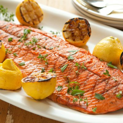 WE CAN MAKE GRILLED WHOLE SALMON WITH LEMON AND SHALLOTS