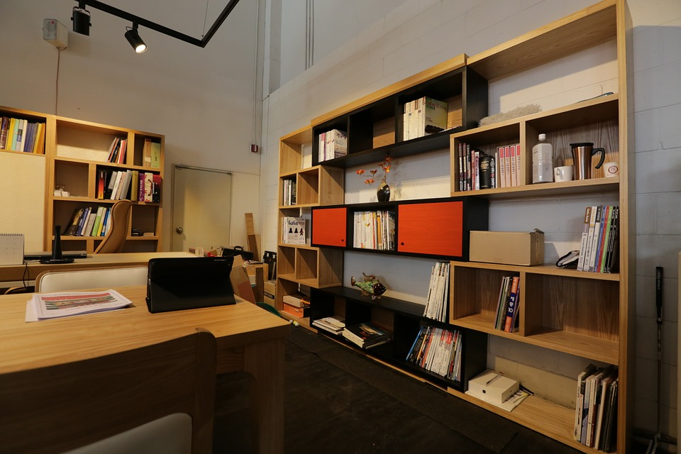 Office, Shelf, Desk, Interior Design, Living Room