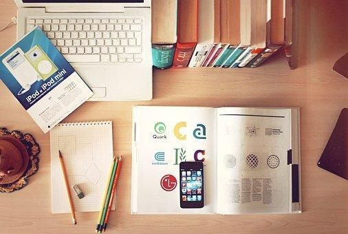 Notebook, Workplace, Desk, Iphone